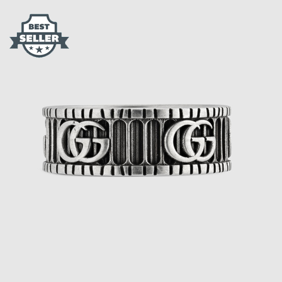 구찌 더블 G 로고 장식 실버 링 Gucci Ring with Double G in silver 551899 J8400 0811,sterling silver