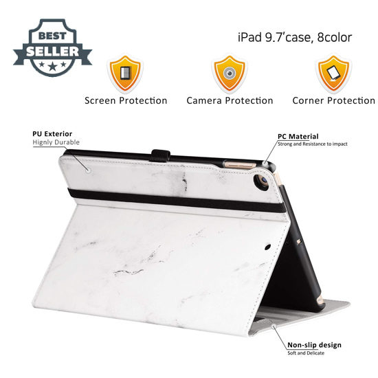 애플 아이패드 6세대 9.7인치 Ztotop 프리미엄 가죽 커버 - 8 컬러 New IPad 9.7 Inch 2018/2017 Case, Ztotop Premium Leather Business Slim Folding Stand Folio Cover