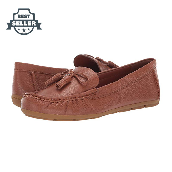 코치 미나 COH 로퍼 - 새들 COACH Minna COH Leather Loafer,Saddle
