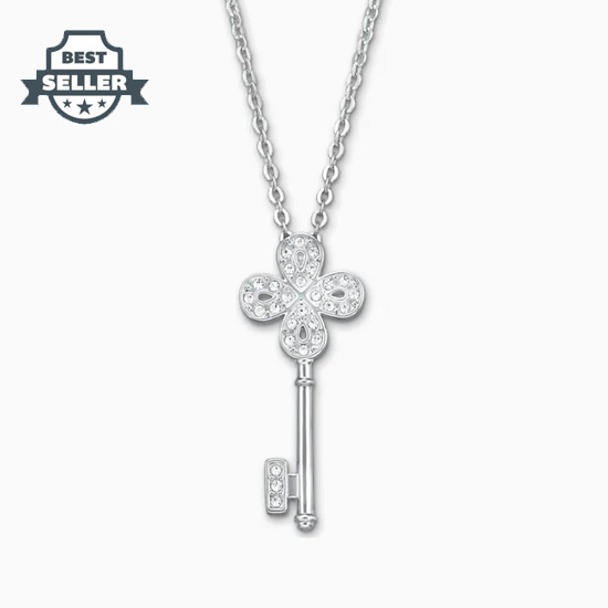 스와로브스키 노블 키 펜던트 Swarovski Noble Key Pendant, White, Rhodium plated
