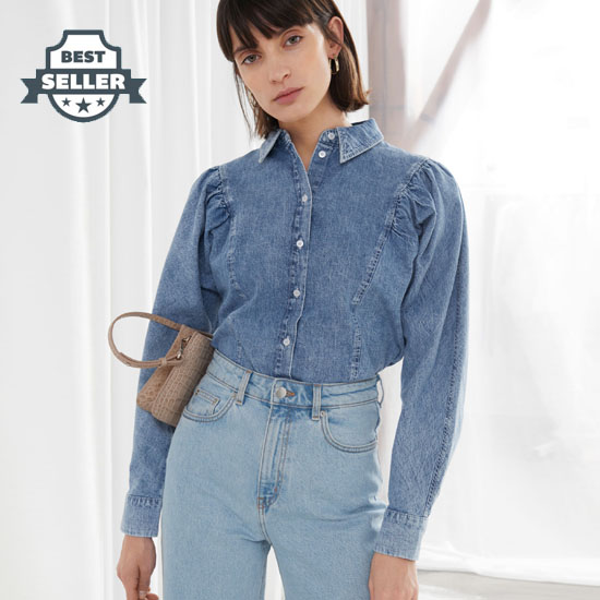 앤 아더 스토리즈 셔링 청셔츠 & OTHER STORIES Puff Shoulder Denim Shirt,Light Blue