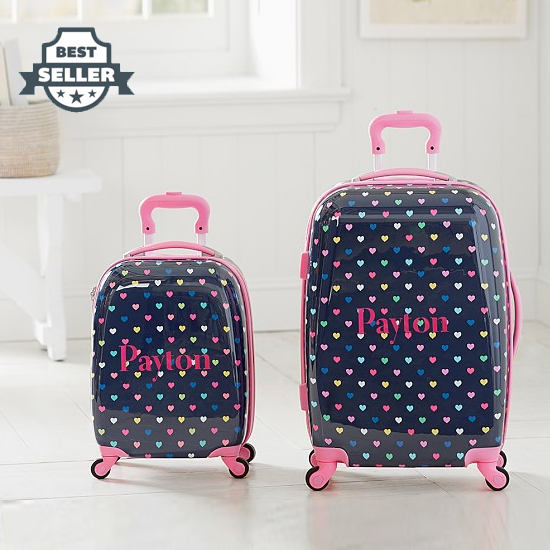 포터리반 아동용 하드 캐리어 Potterybarn Navy Multicolor Heart Hard Sided Spinner Kids Luggage