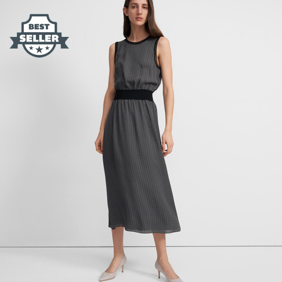 띠어리 다이아몬드 패턴 원피스 (100% 실크) Theory Ribbed Trim Dress in Diamond Print Silk,BLACK MULTI