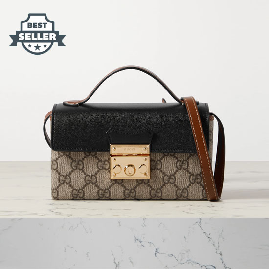 구찌 패들락 토트백 Gucci Padlock leather and printed coated-canvas tote,Black