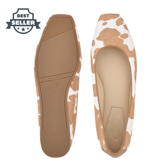 나인 웨스트 스퀘어토 플랫 NINE WEST Alena Square-Toe Flats,Cow Print Haircalf