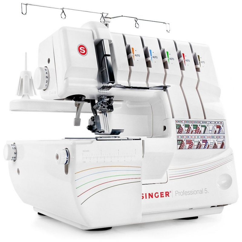 싱거 오버록 커버스티치 미싱 14T968DC - SINGER Professional 5 14T968DC Serger with 2-3-4-5 Threaded Capability