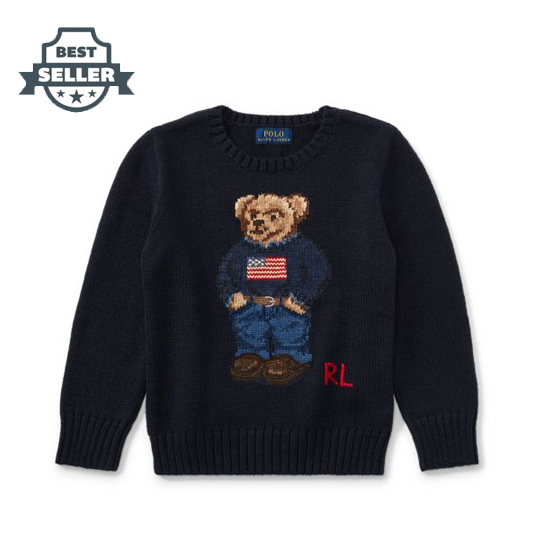 폴로 랄프로렌 남아용 스웨터 네이비 Polo Ralph Lauren Polo Bear Cotton Sweater, Hunter Navy