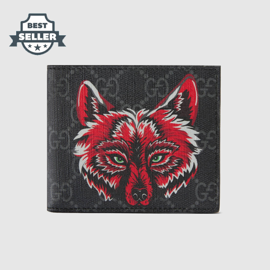 구찌 GG 슈프림 '늑대' 자수 지갑 - 2019 크루즈 컬렉션 Gucci GG Supreme wallet with wolf 451268 91MAN 9789,black/grey GG Supreme