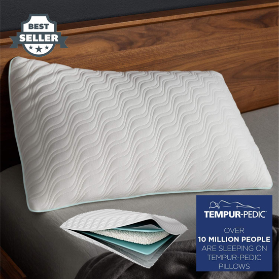 템퍼페딕 템퍼 엑스트라 소프트 베개 워셔블 커버, TEMPUR-PEDIC Tempur-Pedic TEMPUR-Adapt ProLo Queen Size Pillow, For Sleeping, Extra Soft Support, Low Profile Washable Cover, Assembled in the USA