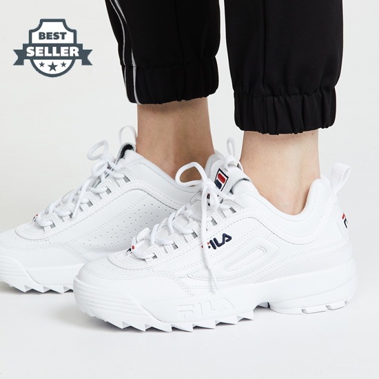 휠라 디스럽터2 스니커즈 Fila Disruptor II Premium Sneakers,White/Fila Navy/Fila Red