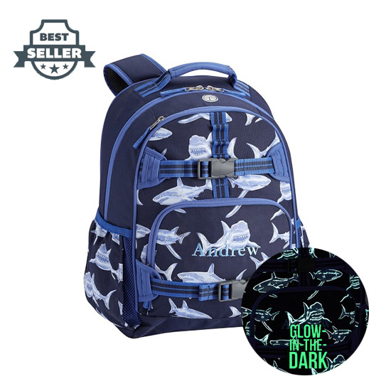 포터리반 가방 상어 초등 백팩 Potterybarn Mackenzie Blue Glow-in-the-Dark Shark Boys Backpacks
