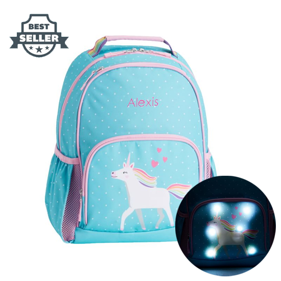 포터리반 가방 Light-Up 초등 백팩 Potterybarn Mackenzie Aqua Unicorn Parade Backpacks