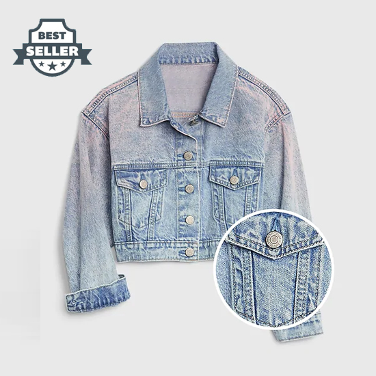 갭 틴에이저 크롭 청자켓 GAP Teen Cropped Icon Denim Jacket,pink denim