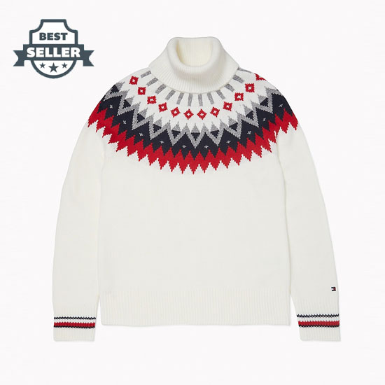 타미 힐피거 우먼 페어 아일 터틀넥 스웨터 Tommy Hilfiger Essential Fair Isle Turtleneck,IVORY / FAIR ISLE