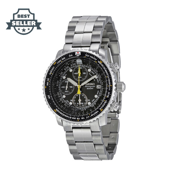 세이코 플라이트 마스터 남성 파일럿 시계 Seiko SNA411P1 Flight Chronograph Steel Black Dial Mens Watch